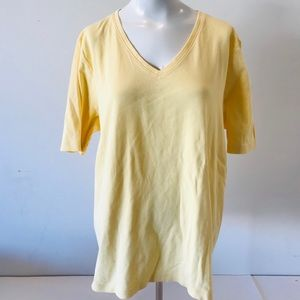 Chico's Tee Essentials Top Cotton V-neck Yellow